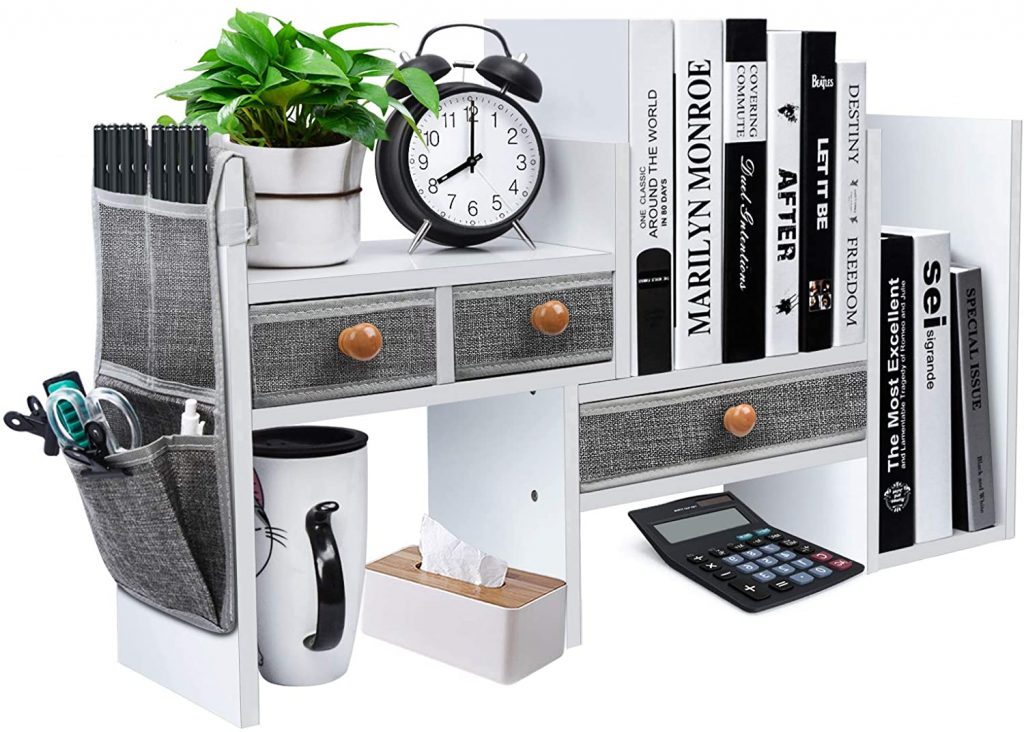 X-cosrack Wood Expandable Desktop Bookshelf Counter with Drawers