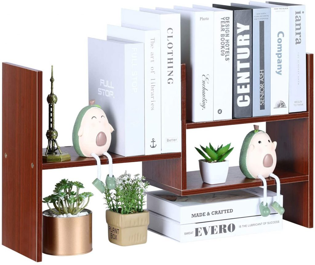 YCOCO Bookshelf with Wood Display, Rectangle Shape and Brown Tone