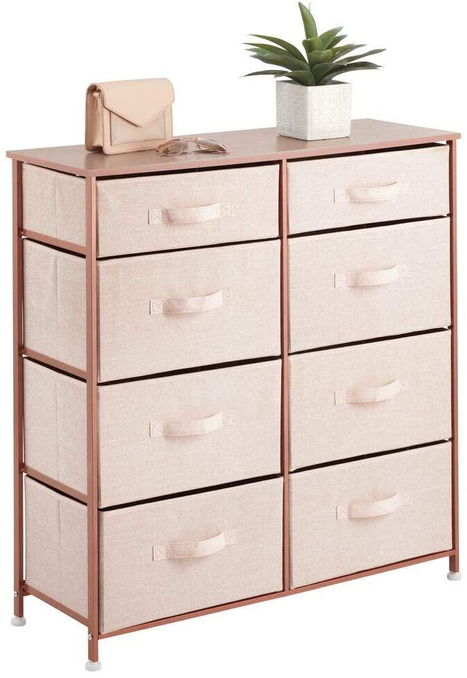 mDesign Dorm Dresser with 8 Slim Drawer Removable Fabric Bins