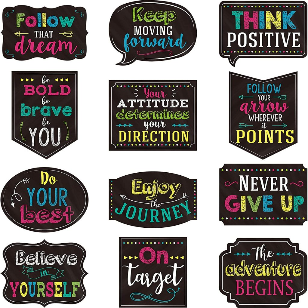 12 Pieces Inspirational Wall Quotes Chalkboard with Glue