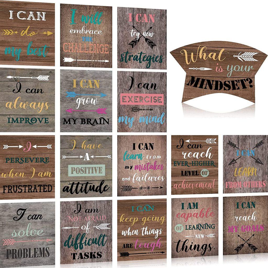 17 Pieces Growth Mindset Poster Set Bulletin Board Display Decoration Positive Mindfulness Poster