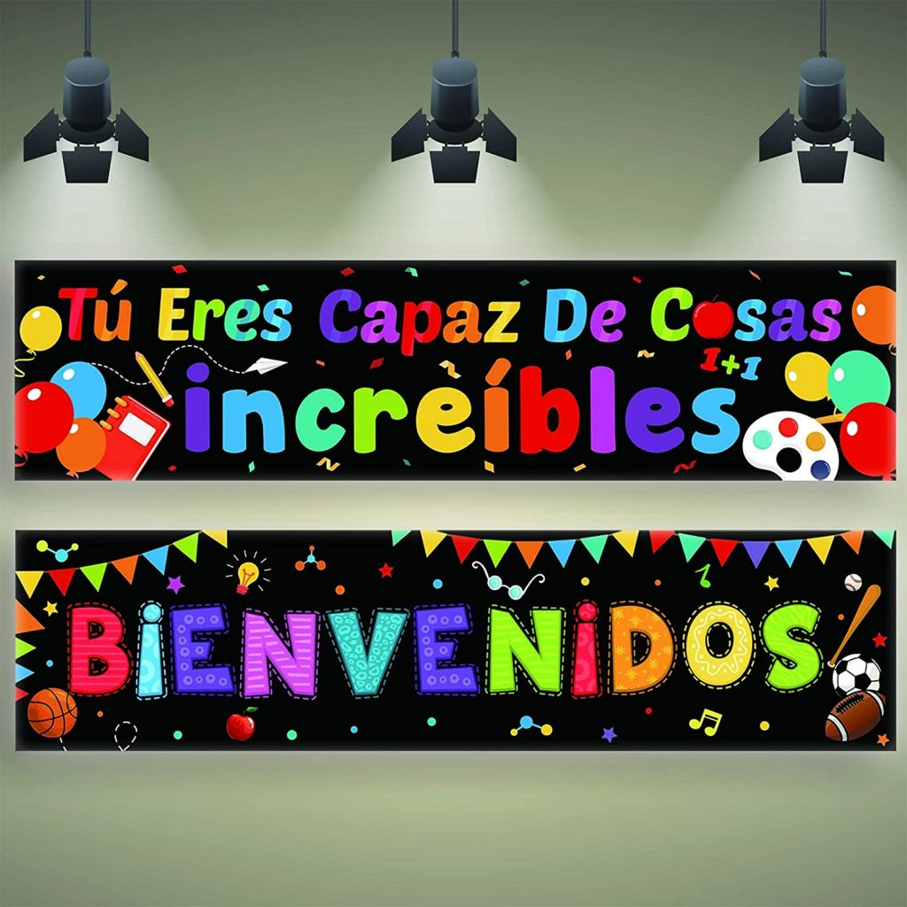 2 Pieces Bienvenidos Sign Spanish Welcome Banners with 40 Pieces