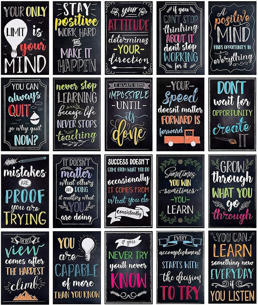 20 Pack Motivational Posters 13x19 Growth Mindset Signs for Classroom