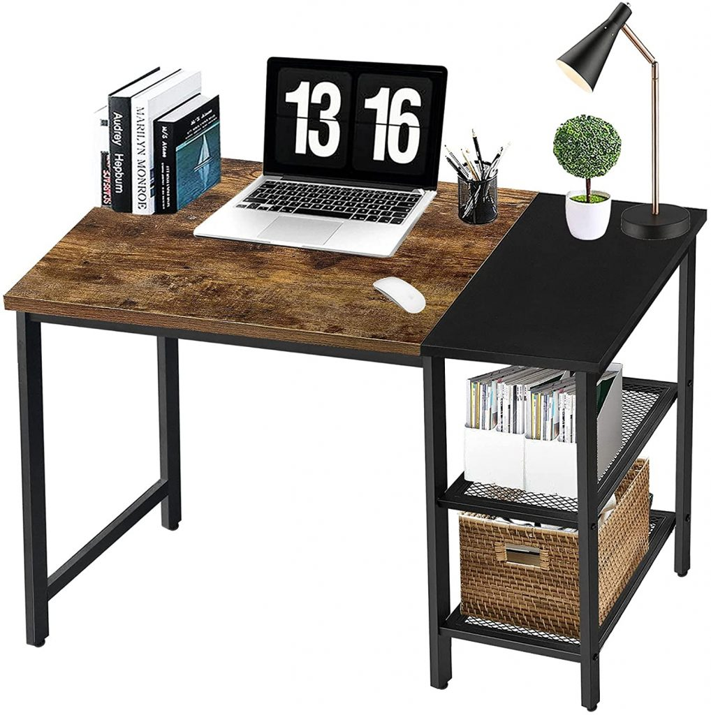 40 Inch Desk with Storage Shelves