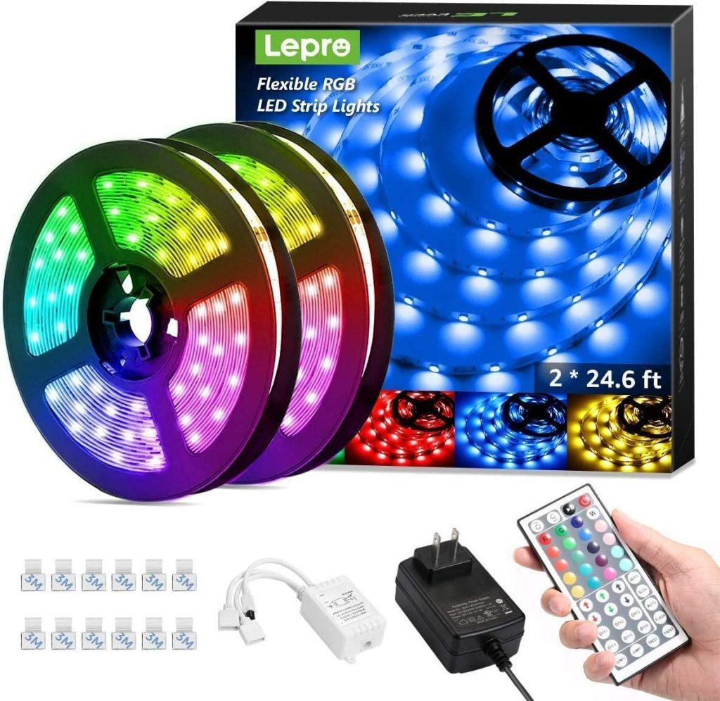 5. Lepro 50ft LED Strip Lights with Remote Controller