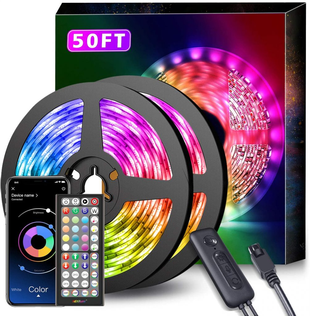 50Ft LED Strip Lights with Music Sync Color
