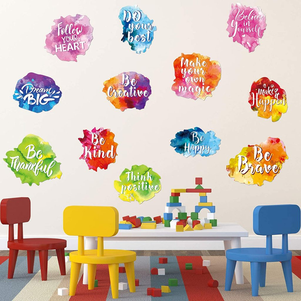 6 Pieces Colorful Inspirational Wall Decal