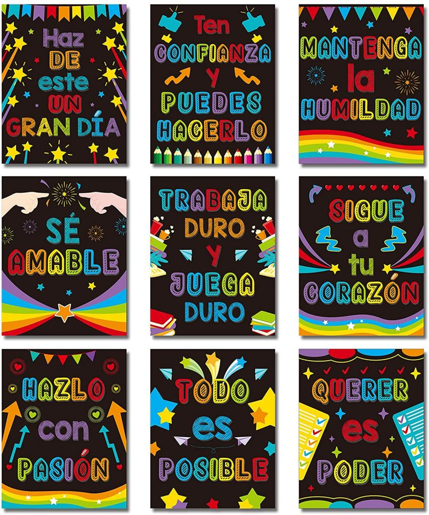 9 Pieces Spanish Classroom Decorations Spanish Motivational Posters