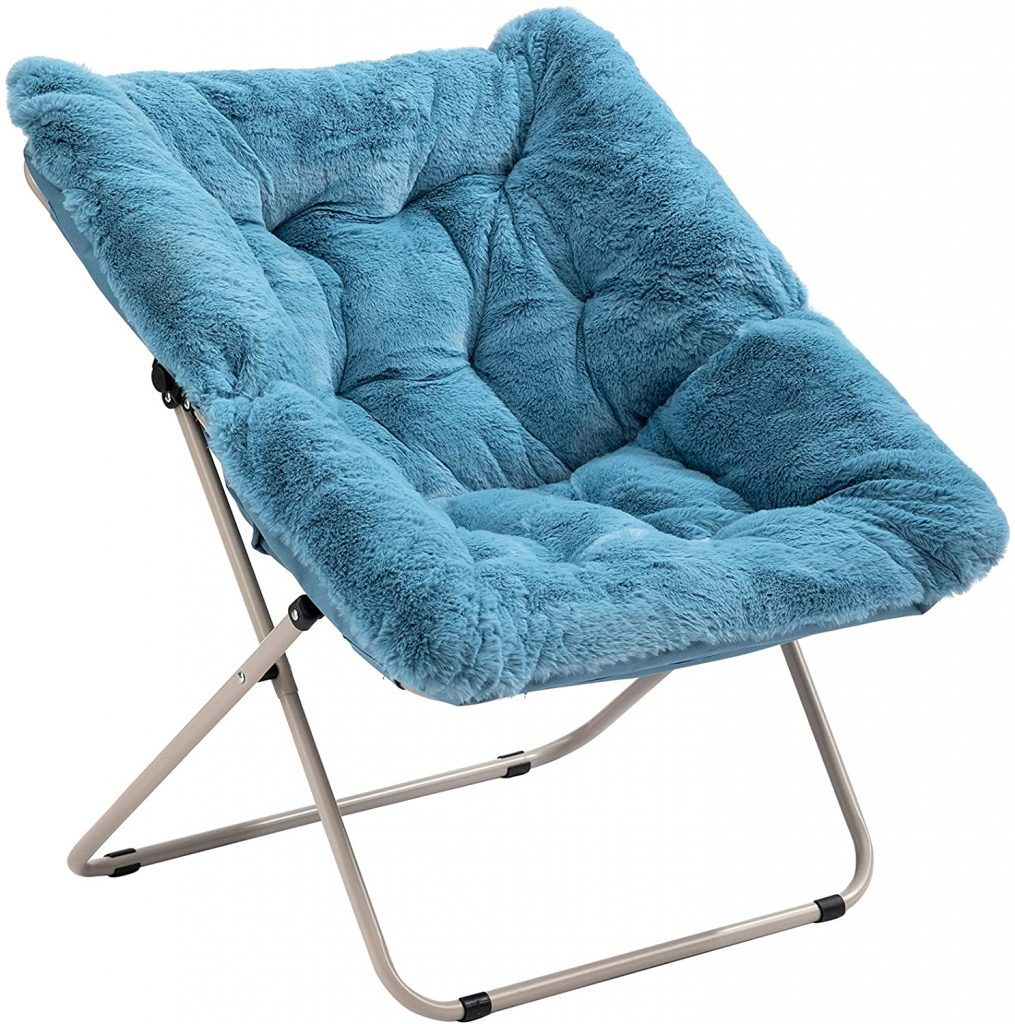 AcozyHom Square Faux-Fur Moon Saucer Chair with Plush Cushion and Metal Frame