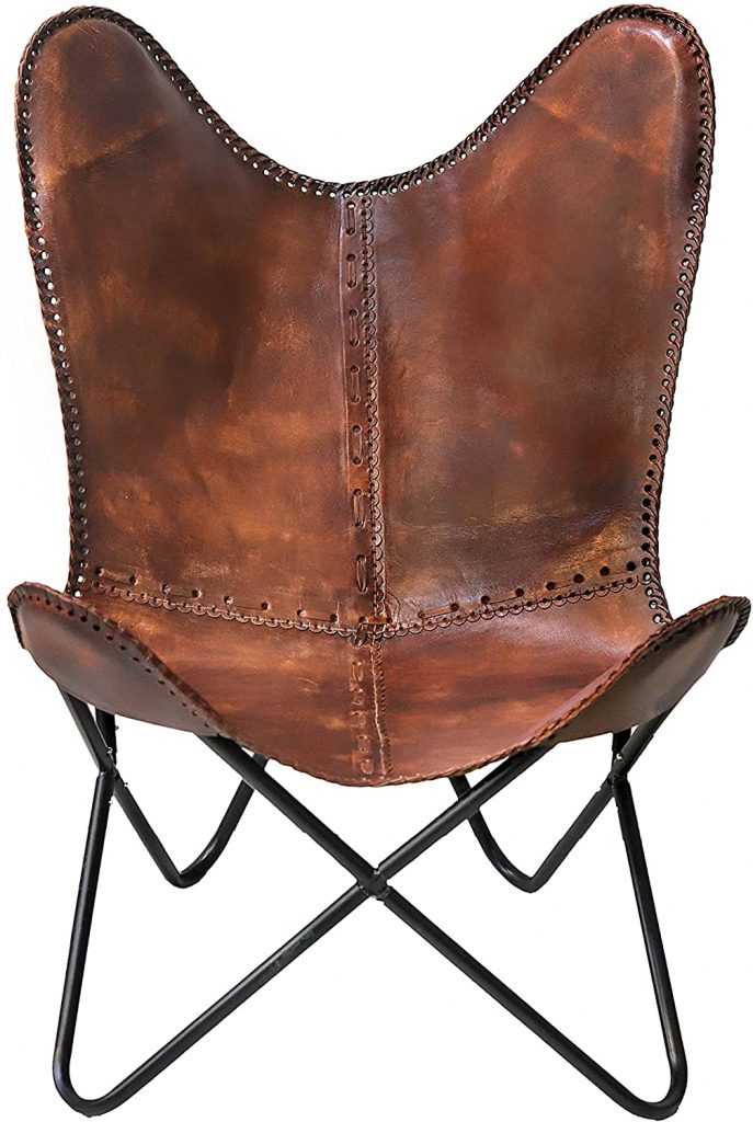 Classy Handmade Leather Chair with Folding Frame