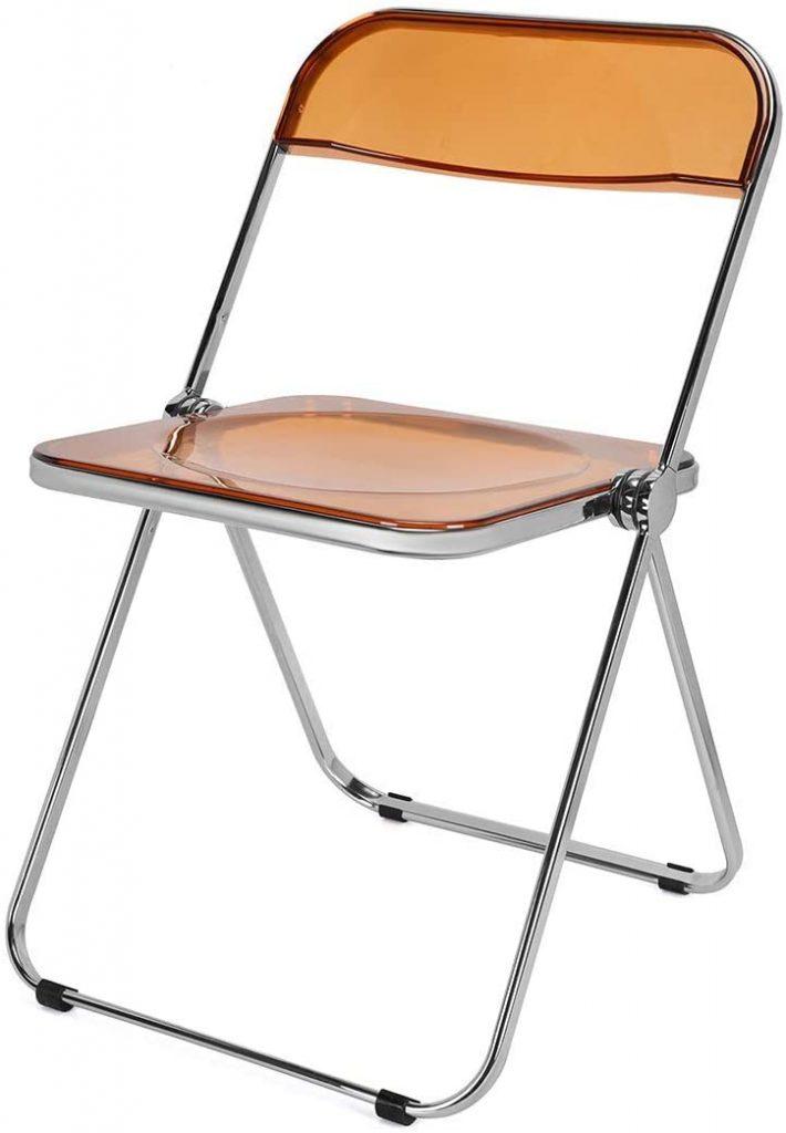 DIYHD Caramel Clear Folding Chair with PC Plastic Frame