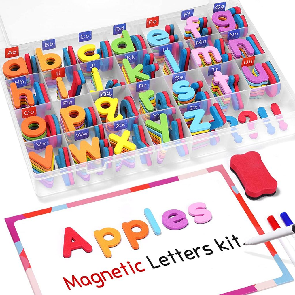 Gamenote Classroom Magnetic Alphabet Letters Kit with 234 Pcs and Double - Side Magnet Board