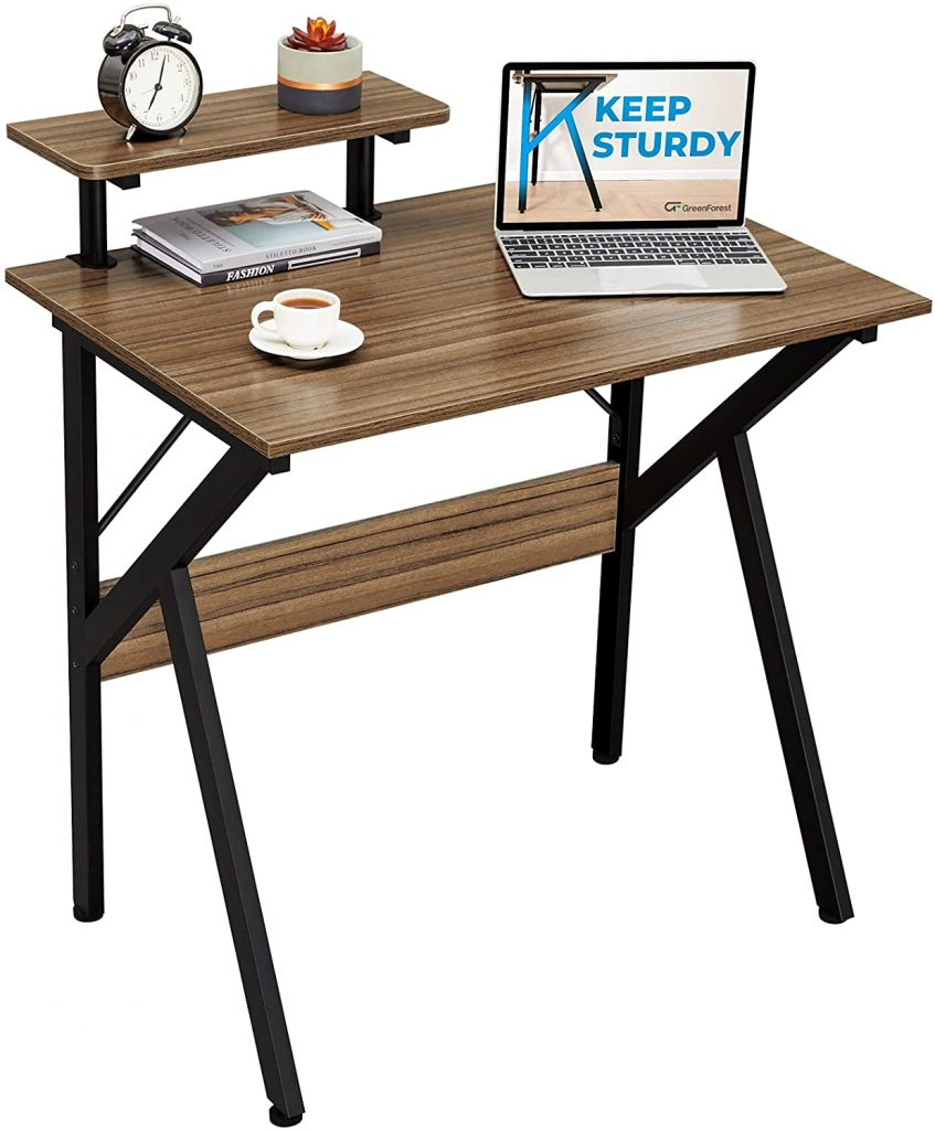 """GreenForest Small Computer Desk 32"""" with Moveable Shelf"""