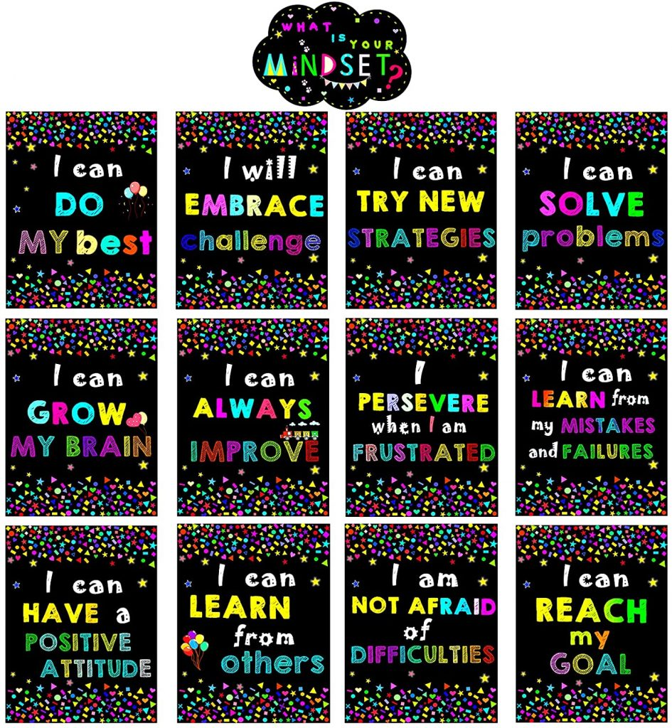Growth Mindset Posters Bulletin Board Decorations with 13 PCS