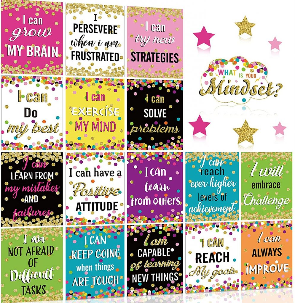Growth Mindset Posters Set Bulletin Board Display Decorations Positive Mindfulness Poster