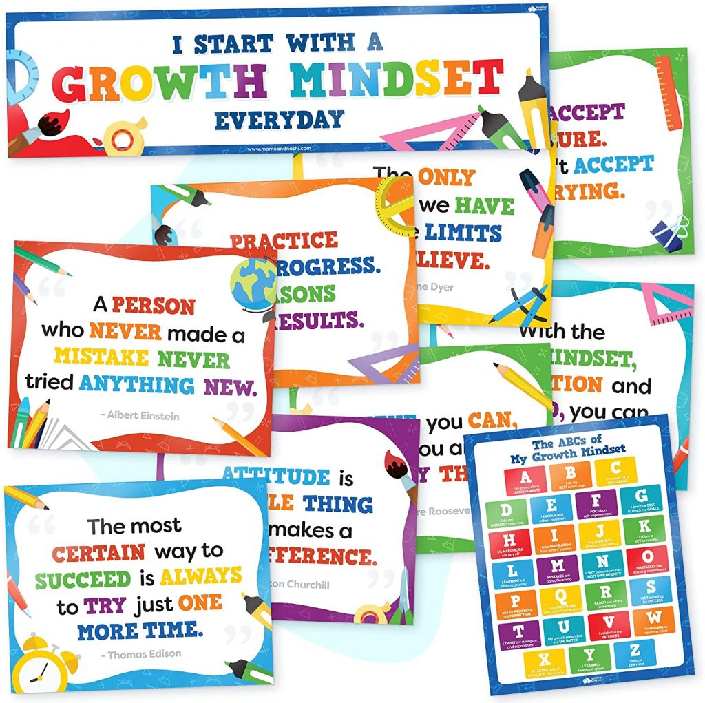 Growth Mindset Posters for Classroom with 10 PCS