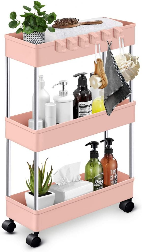 KPX Slim Rolling Storage Cart Kitchen Small Shelves Organizer with Casters Wheels