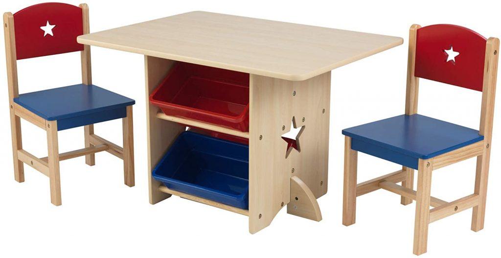 KidKraft Wooden Star Table & Chair Set with 4 Storage Bins