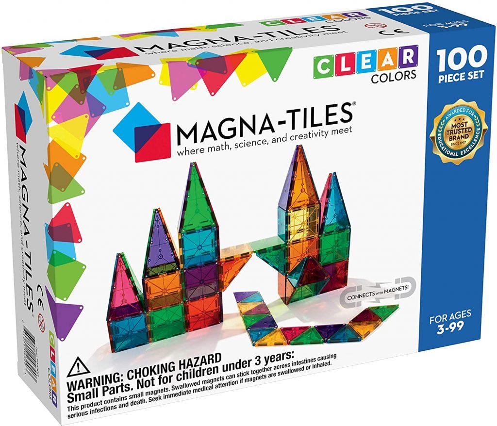 Magna-Tiles 100-Piece Clear Colors Set, The Original Magnetic Building