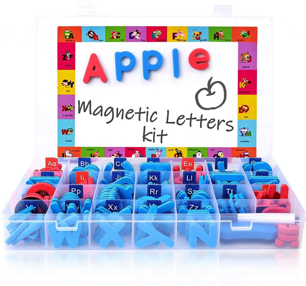 Magnetic Letters Kit with Large Double-Side Magnet Board and Storage Box