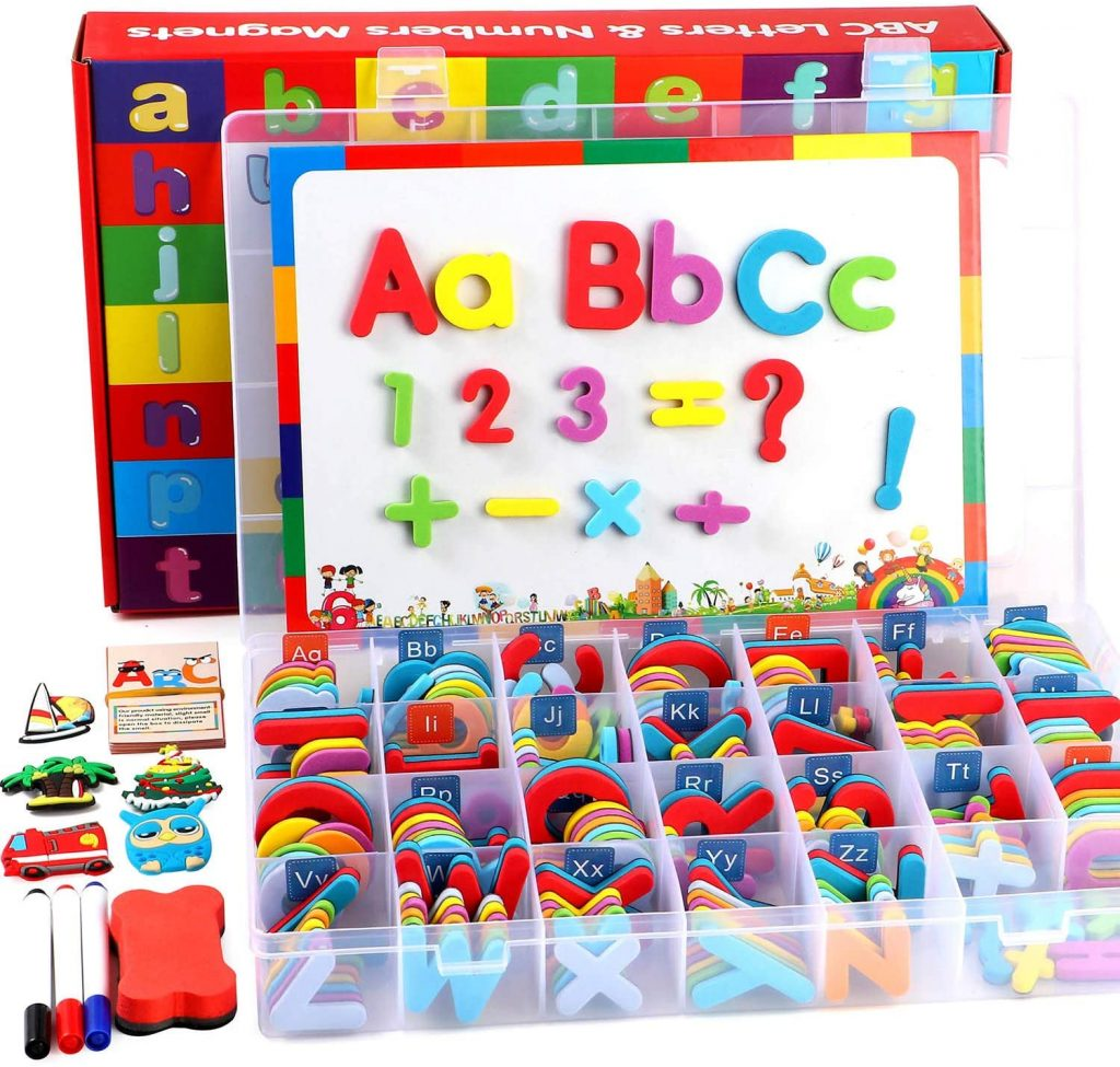 Magnetic Letters and Numbers Kit with Double-Sided Magnetic Board and Storage Box