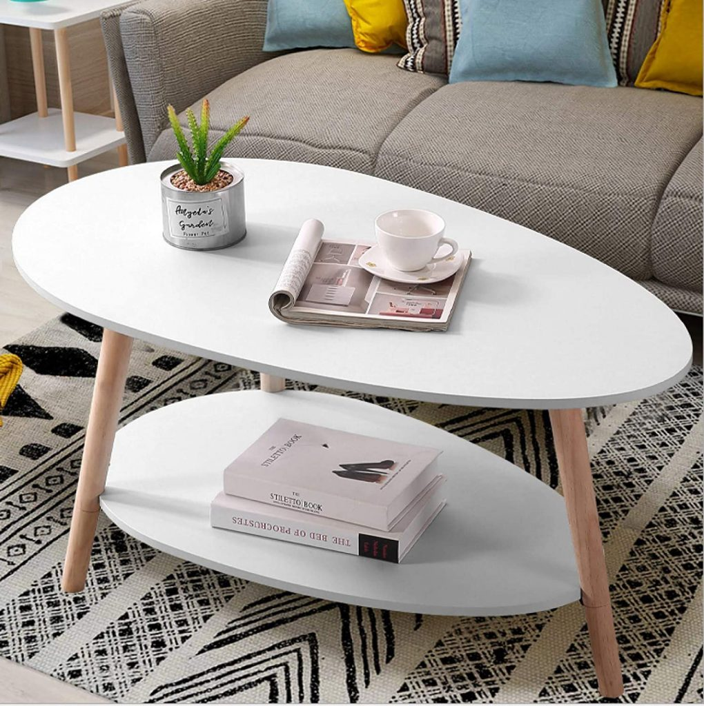 Maupvit Coffee Table-Oval Wood Coffee Table with Open Shelving