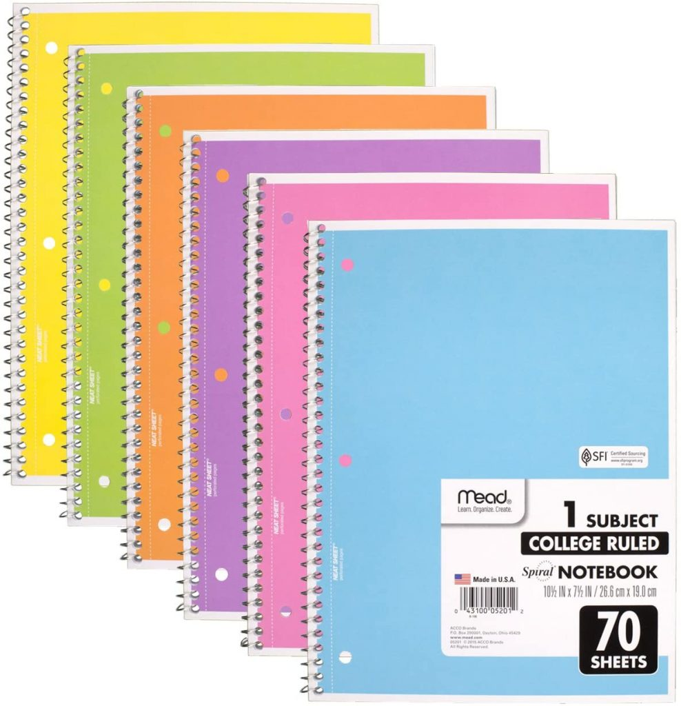Mead Spiral Notebook with 6 Pack of 70 Pages