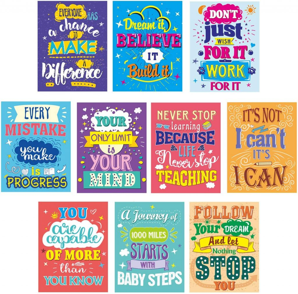 Motivational Posters for Classroom with 10 Pack Inspirational Quotes