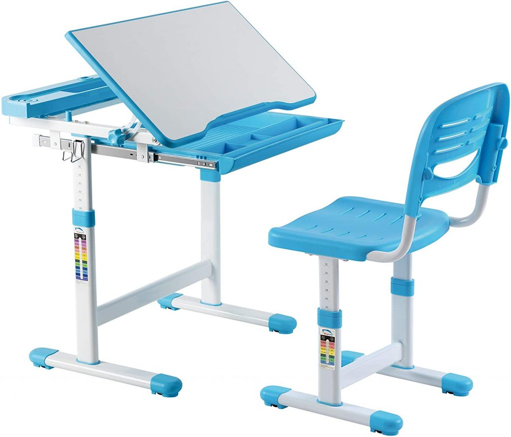Mount-It! Kids Desk and Chair Set with Storage Drawer Blue