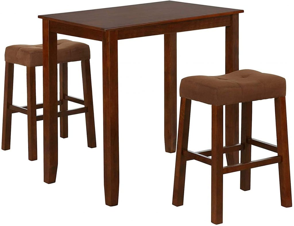 Nathaniel Home 3 Piece Dining Table Set with Two Saddle Stools