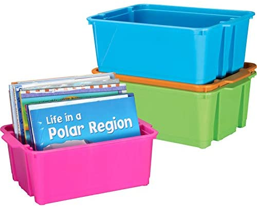 Really Good Stuff Stackable Plastic Book and Organizer Bins for Classroom