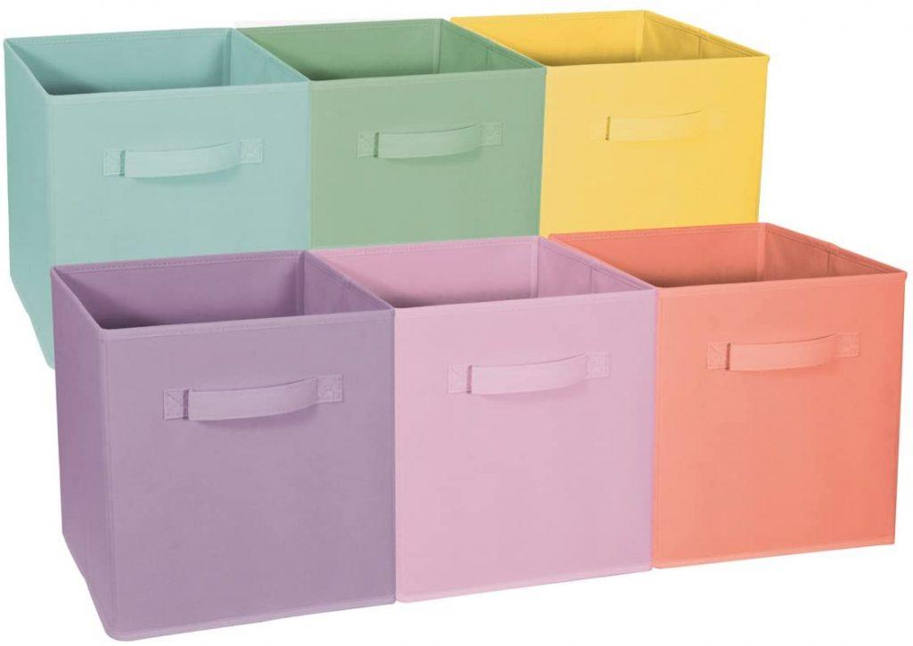 Sorbus Foldable Storage Cube Basket Bin with Pastel Multi-Color