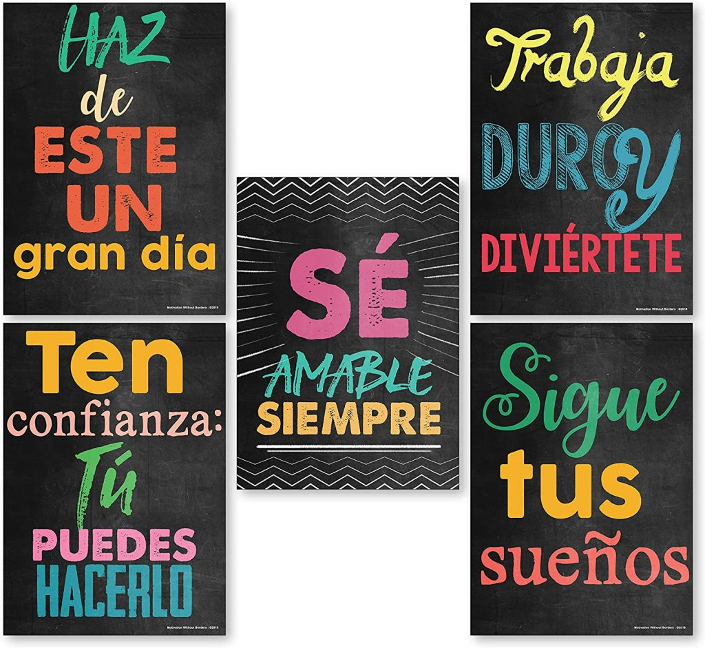 Spanish Classroom Decorations with Set of 5 Spanish Decor Posters