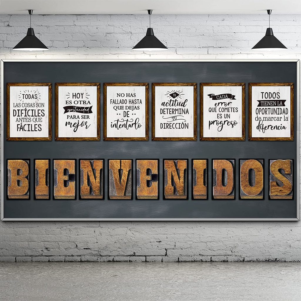 Spanish Industrial Chic Bulletin Board with Welcome Letter and Positive Affirmation