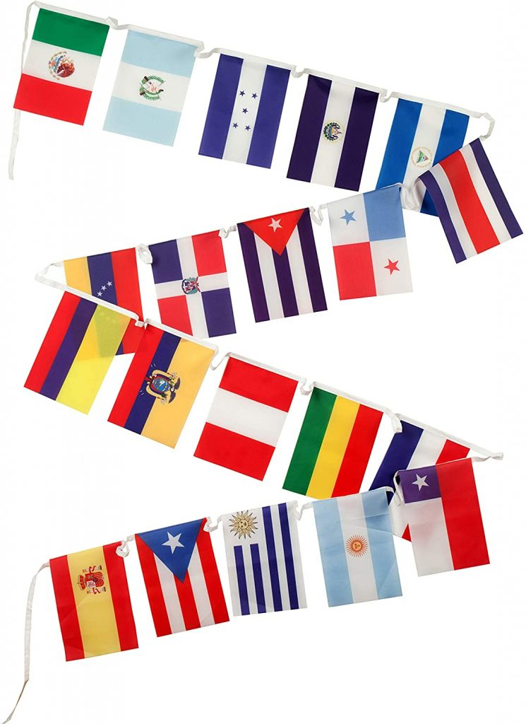Spanish Language Country Flags with 18 Latin American Countries
