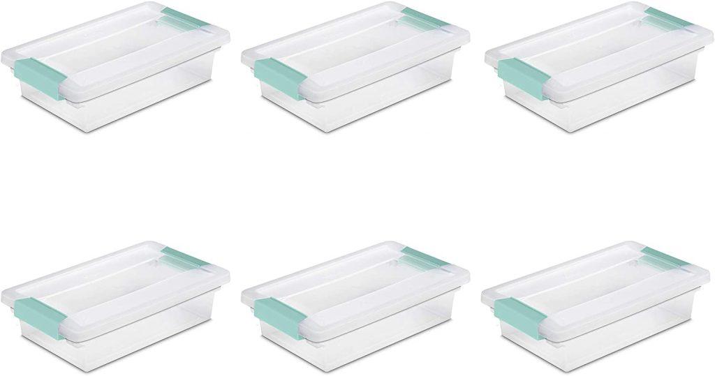 Sterilite 19618606 Small Clip Box with Clear Lid & Base w/Colored Latches
