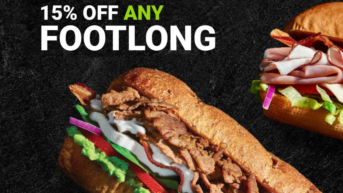 Subway 15% Off on Footlong Sandwich