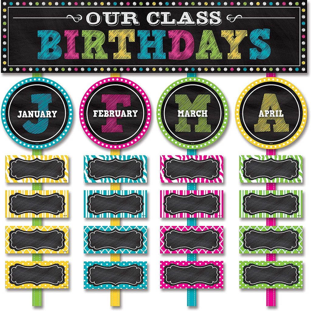 Teacher Created Resources Chalkboard Brights Our Class Birthdays Mini Bulletin Board