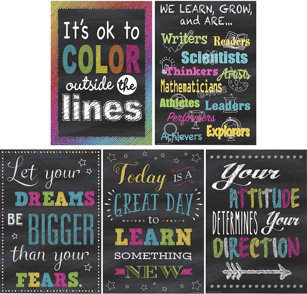 Teacher Created Resources Chalkboard Brights Positive Poster Pack
