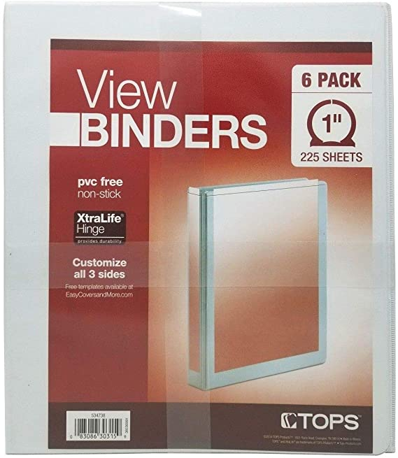 """Tops 1"""" 3-Ring White Binders with Non-Stick Clear View"""