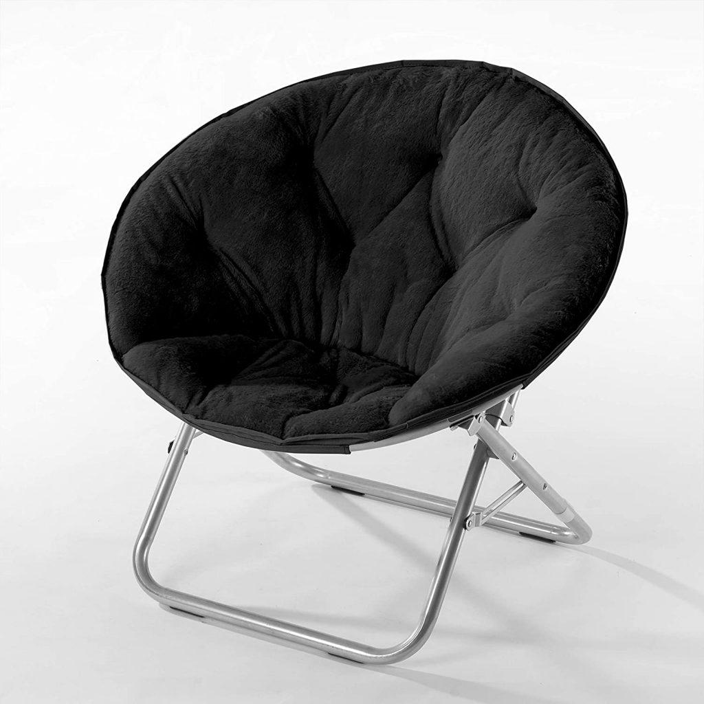 Urban Shop Super Soft Faux Fur Saucer Chair With Folding Metal Frame