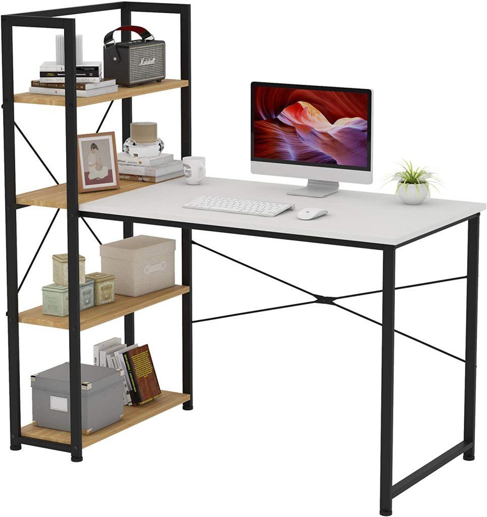 VERMESS Computer Desk with 4 Storage Shelves