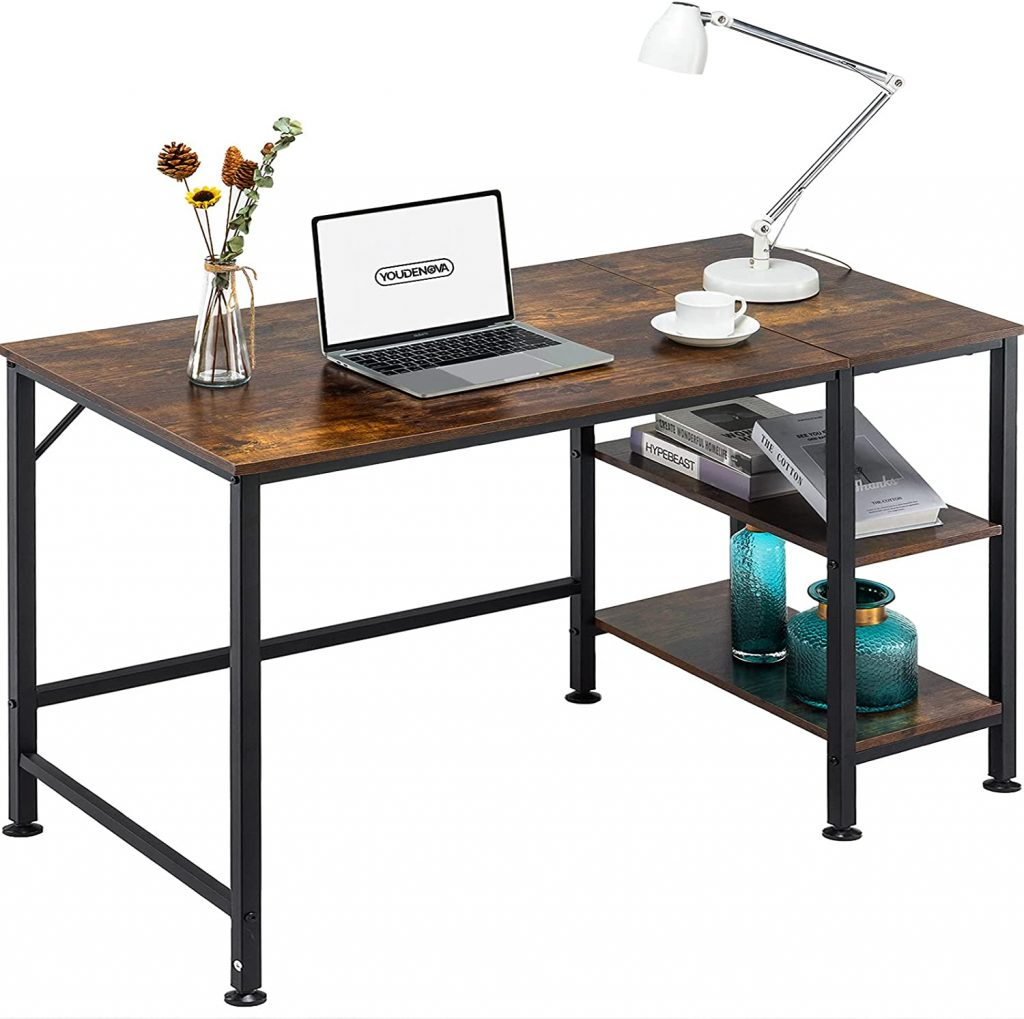 YOUDENOVA Home Office Desk with Reversible 2 Tiers Storage Shelves