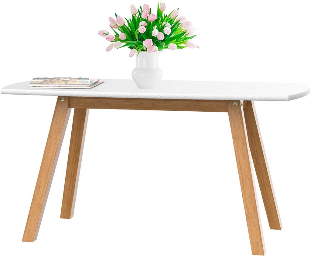 bonVIVO White Coffee Table Franz with Bamboo Frame