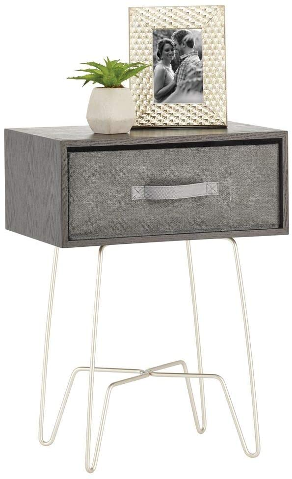 mDesign Modern Industrial Side Table with Fabric Drawer