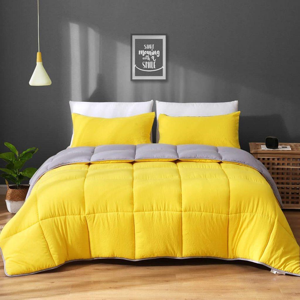 APSMILE Reversible Comforter Set with 3 Piece All-Season Bedding