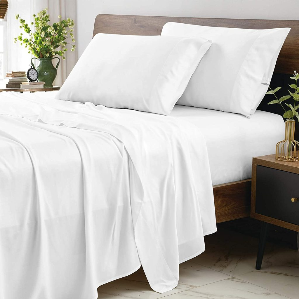 """CozyLux Organic Bamboo Sheets set with 16"""" Deep Pocket, Luxury Silk, and Feel Hotel Bedding"""