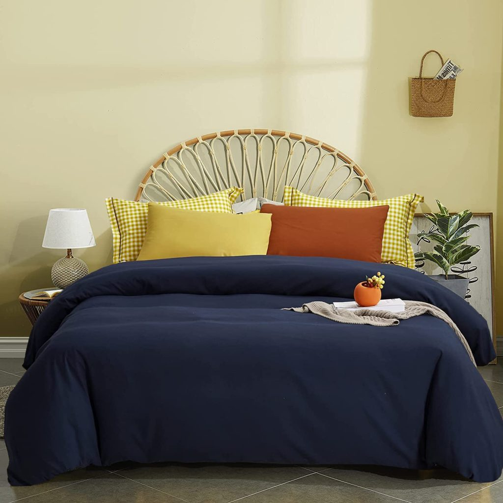 Houseri Navy Blue Comforter Set with Different Shades