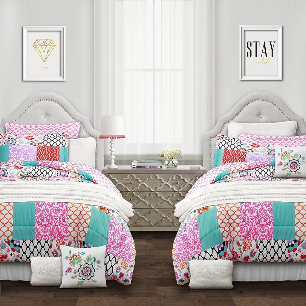 Lush Decor Multicolor Brookdale Comforter with Colorful Patchwork Pattern