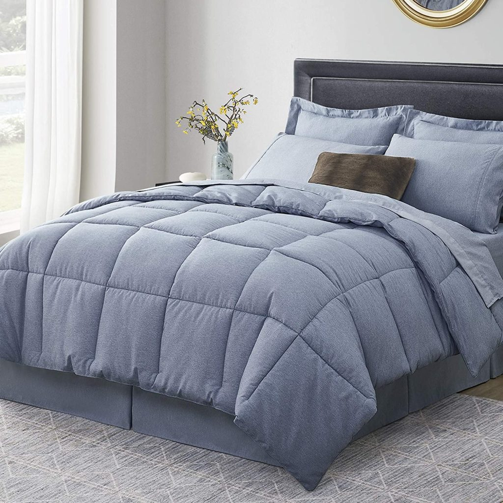 Umchord Navy Dorm Twin Comforter Set with 6 Pieces
